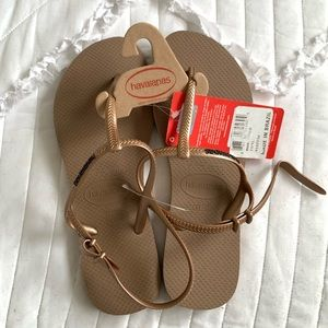 Havaianas | Rose Gold Thong w/ Strap Slippers
